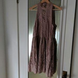 Free People Mauve Lace Overlay High Neck Dress